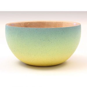 Rippled sycamore blue and yellow textured and coloured bowl