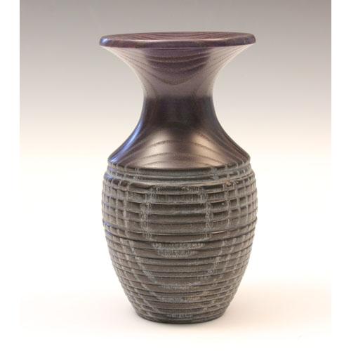 Ash Coloured And Textured Bud Vase Purple And Black Creative