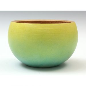 Oak blue and yellow textured coloured bowl