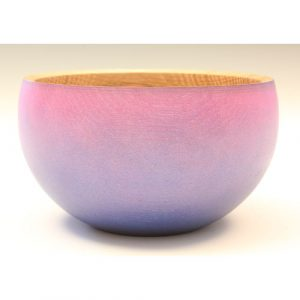Oak purple / blue coloured and textured bowl