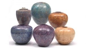 Masur birch coloured hollow forms by Paul Hannaby Creative Woodturner