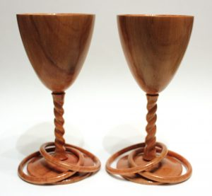 Apple goblets with twist stems and captive rings