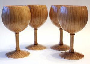 Set of four elm goblets