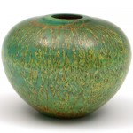 Masur birch coloured hollow form. Green and yellowGreen and yellow