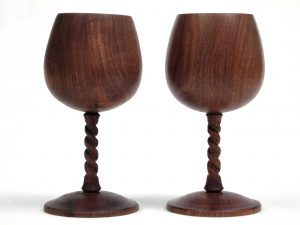 Walnut twist stem goblets