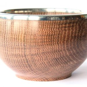 Brown oak pewter bowl