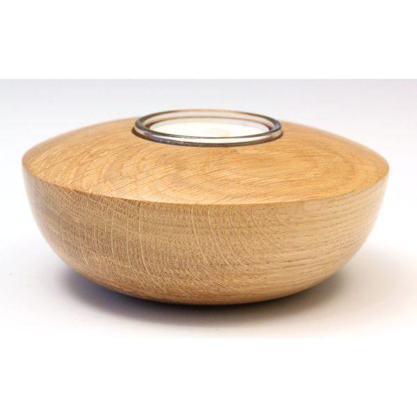 Turned wood oak tealight holder by Paul Hannaby