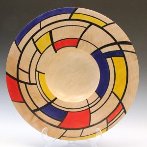 Horse chestnut coloured Mondrian platter by Paul Hannaby