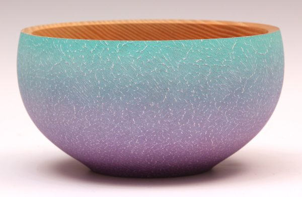 Coloured and textured ash bowl by Paul Hannaby Creative Woodturner