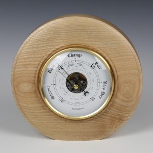 ash free standing barometer with whit dial.Turned by Paul Hannaby Creative Woodturning