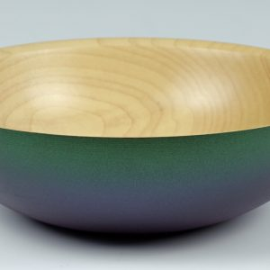 Coloured sycamore bowl. Turned by Paul Hannaby creative woodturning