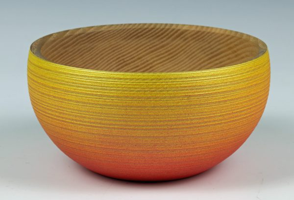 Coloured and textured ash bowl turned by Paul Hannaby creative woodturning
