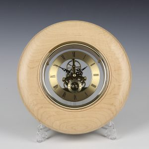 Maple and gold wall clock. Turned by Paul Hannaby creative woodturning