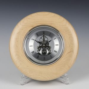 Maple and silver skeleton clock. Turned by Paul Hannaby creative woodturning