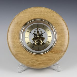 Oak and gold skeleton clock. Turned by Paul Hannaby creative woodturning