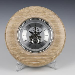 Limed oak and sliver skeleton clock. Turned by Paul Hannaby creative woodturning