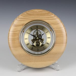 Ash and gold skeleton clock. Turned by Paul Hannaby creative woodturning