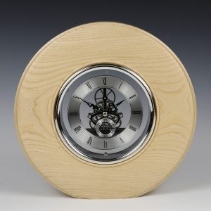 Ash and silver freestanding skeleto clock. Turned by Paul Hannaby creative woodturning