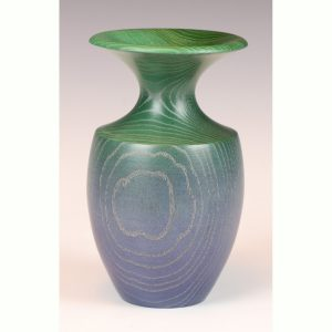 Coloured ash bud vase turned by Paul Hannaby creative woodturning