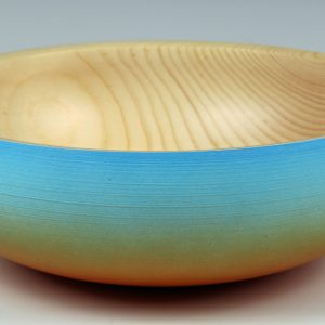 Coloured and textured pine bowl turned by Paul Hannaby creative woodturning