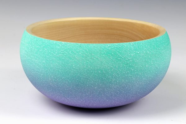 Coloured sycamore bowl turned by Paul Hannaby creative woodturning