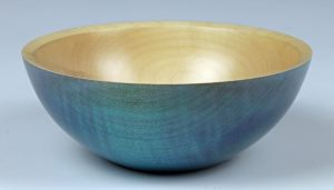 Coloured rippled sycamore bowl turned by Paul Hannaby creative woodturning