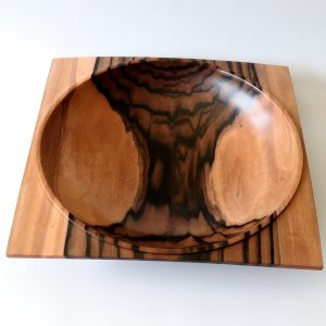 Asian striped ebony square edged bowl by Paul Hannaby creative woodturning