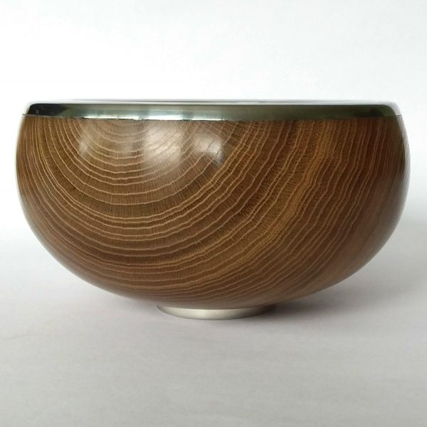 laburnum and pewter bowl turned by Paul Hannaby creative woodturning